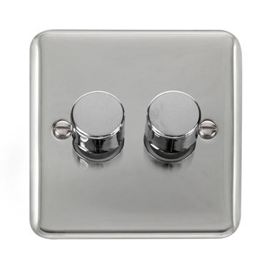 Curved Polished Chrome 2 Gang 2 Way 400Va Dimmer Switch - Black Trim