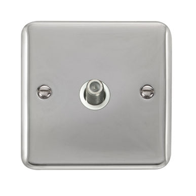 Curved Polished Chrome Non-Isolated Single Satellite Outlet - White - White