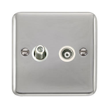 Curved Polished Chrome Isolated Satellite & Isolated Coaxial Outlet - White - White