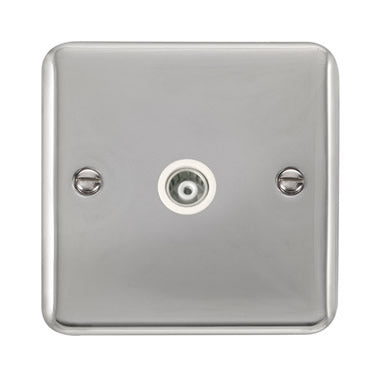Curved Polished Chrome Single Isolated Coaxial Outlet - White - White