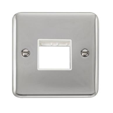 Curved Polished Chrome 1 Gang MiniGrid® Unfurnished Plate - 2 Apertures - White Trim - White Trim
