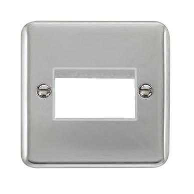 Curved Polished Chrome 1 Gang MiniGrid® Unfurnished Plate - 3 Apertures - White Trim - White Trim