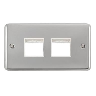 Curved Polished Chrome 2 Gang MiniGrid® Unfurnished Plate - 2 x 2 Apertures - White Trim - White Trim