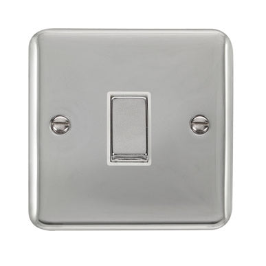 Curved Polished Chrome 10AX Ingot 1 Gang 2 Way Plate Switch - White - White