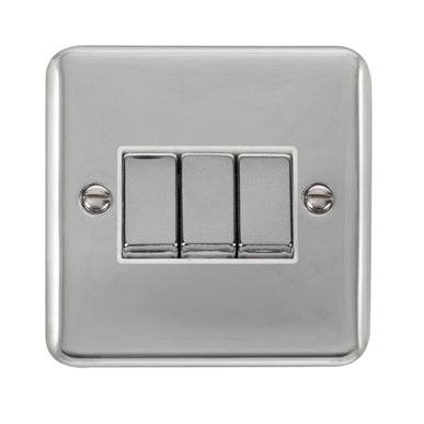 Curved Polished Chrome 10AX Ingot 3 Gang 2 Way Plate Switch - White - White
