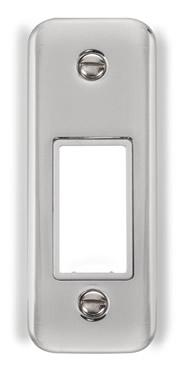 Curved Polished Chrome 1 Gang MiniGrid® Unfurnished Architrave Plate - 1 Aperture - White Trim - White Trim