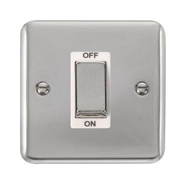 Curved Polished Chrome 45A Ingot 1 Gang DP Switch - White Trim - White Trim