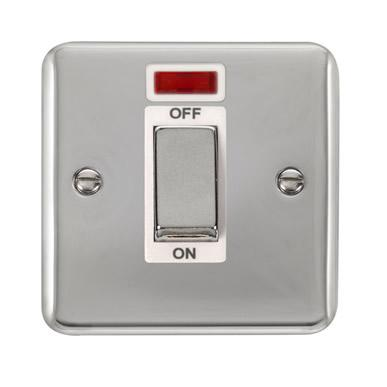 Curved Polished Chrome 45A Ingot 1 Gang DP Switch With Neon - White Trim - White Trim