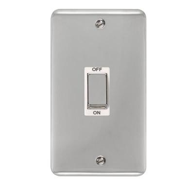 Curved Polished Chrome 45A Ingot 2 Gang DP Switch - White Trim - White Trim