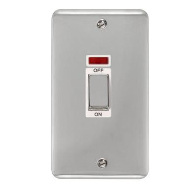 Curved Polished Chrome 45A Ingot 2 Gang DP Switch With Neon - White Trim - White Trim