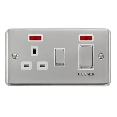 Curved Polished Chrome 45A Ingot 2 Gang DP Switch With 13A DP Switched Socket & Neons - White Trim - White Trim