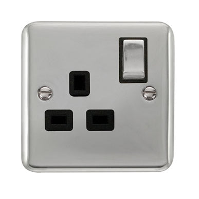 Curved Polished Chrome 13A Ingot 1 Gang DP Switched Socket - Black - Black