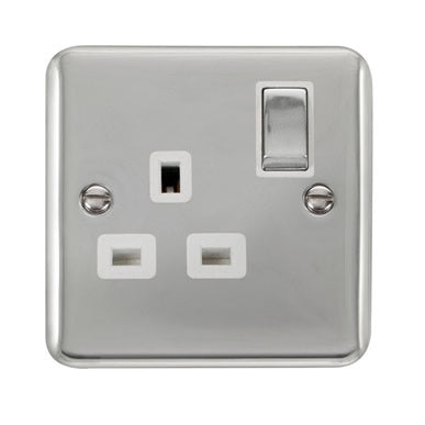 Curved Polished Chrome 13A Ingot 1 Gang DP Switched Socket - White - White