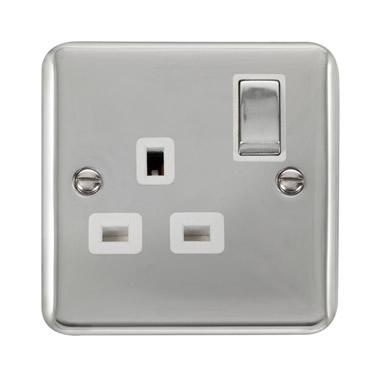 Curved Polished Chrome 13A Ingot 1 Gang DP Switched Socket - White Trim - White Trim