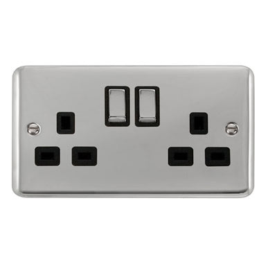 Curved Polished Chrome 13A Ingot 2 Gang DP Switched Socket - Black - Black