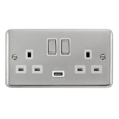 Curved Polished Chrome 13A Ingot 2 Gang Switched Sockets With 2.1A USB Outlet (Twin Earth) - White Trim - White Trim