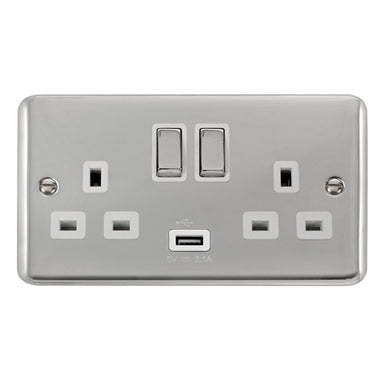 Curved Polished Chrome 13A Ingot 2 Gang Switched Sockets With 2.1A USB Outlet (Twin Earth) - White - White