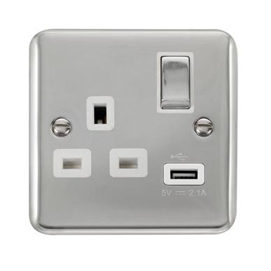 Curved Polished Chrome 13A Ingot 1 Gang Switched Socket With 2.1A USB Outlet - White Trim - White Trim