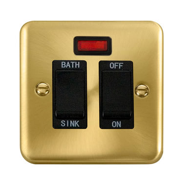 Curved Satin Brass 20A DP Sink/Bath Switch With Neon - Black - Black