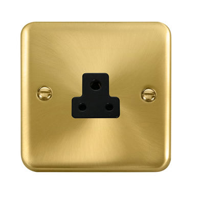 Curved Satin Brass 2A Round Pin Socket - Black Trim Trim- Black Trim