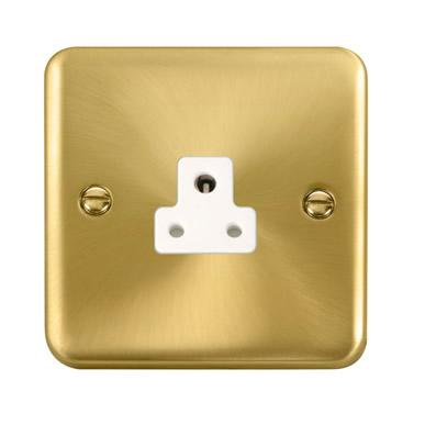 Curved Satin Brass 2A Round Pin Socket - White Trim - White Trim