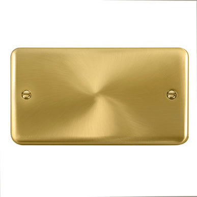 Curved Satin Brass 2 Gang Blank Plate - Black