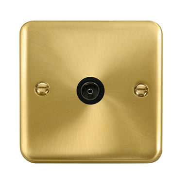 Curved Satin Brass Single Coaxial Outlet - Black - Black