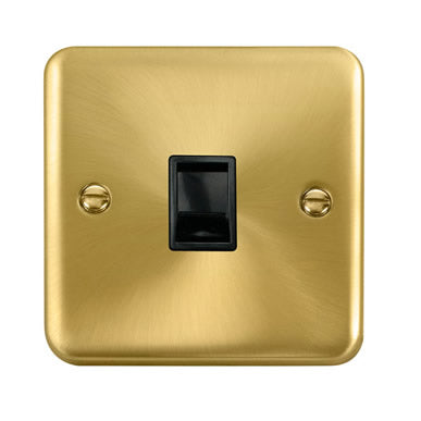 Curved Satin Brass Single RJ11 (Irish/US) Outlet - Black - Black