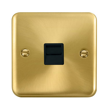 Curved Satin Brass Single Telephone Outlet - Master - Black - Black