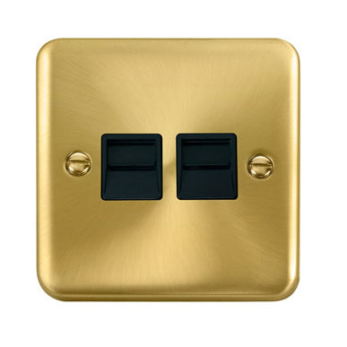 Curved Satin Brass Twin Telephone Outlet - Secondary - Black Trim Trim- Black Trim