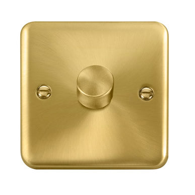 Curved Satin Brass 1 Gang 2 Way 400Va Dimmer Switch - Black Trim