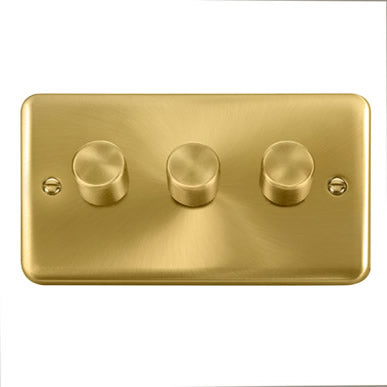 Curved Satin Brass 3 Gang 2 Way 400Va Dimmer Switch - Black Trim
