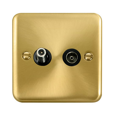 Curved Satin Brass Non-Isolated Satellite & Non-Isolated Coaxial Outlet - Black Trim Trim- Black Trim