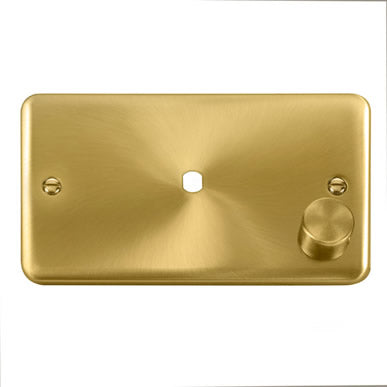 Curved Satin Brass 2 Gang Unfurnished Dimmer Plate & Knob (630W or 1000W) - 1 Aperture - Black Trim