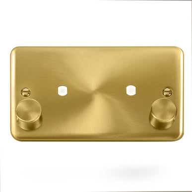 Curved Satin Brass 2 Gang Unfurnished Dimmer Plate & Knobs (1630W Max) - 2 Apertures - Black Trim