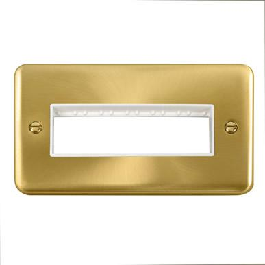 Curved Satin Brass 2 Gang MiniGrid® Unfurnished Plate - 6 In-Line  Apertures - White Trim - White Trim