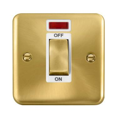 Curved Satin Brass 45A Ingot 1 Gang DP Switch With Neon - White Trim - White Trim