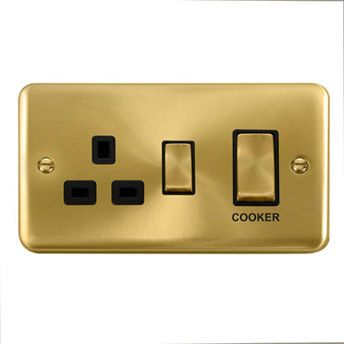 Curved Satin Brass 45A Ingot 2 Gang DP Switch With 13A DP Switched Socket - Black Trim Trim- Black Trim