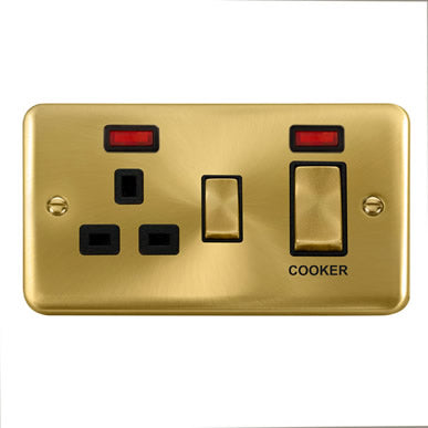 Curved Satin Brass 45A Ingot 2 Gang DP Switch With 13A DP Switched Socket & Neons - Black Trim Trim- Black Trim