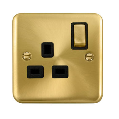 Curved Satin Brass 13A Ingot 1 Gang DP Switched Socket - Black - Black