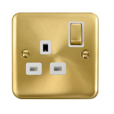 Curved Satin Brass 13A Ingot 1 Gang DP Switched Socket - White Trim - White Trim