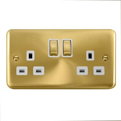 Curved Satin Brass 13A Ingot 2 Gang DP Switched Socket - White Trim - White Trim