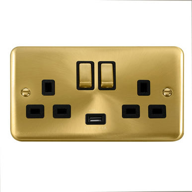 Curved Satin Brass 13A Ingot 2 Gang Switched Sockets With 2.1A USB Outlet (Twin Earth) - Black Trim Trim- Black Trim
