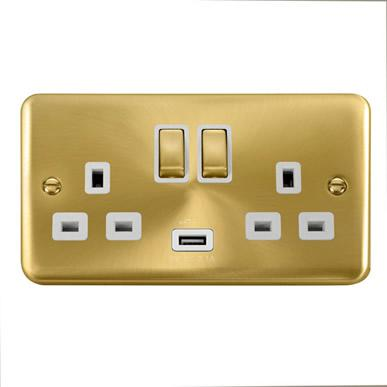 Curved Satin Brass 13A Ingot 2 Gang Switched Sockets With 2.1A USB Outlet (Twin Earth) - White Trim - White Trim