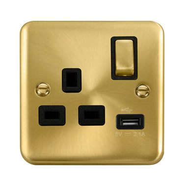 Curved Satin Brass 13A Ingot 1 Gang Switched Socket With 2.1A USB Outlet - Black - Black