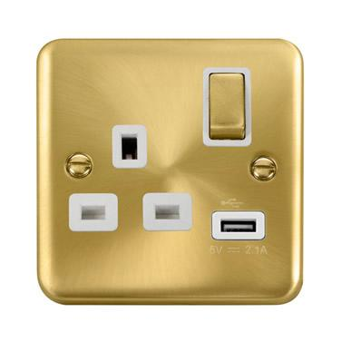 Curved Satin Brass 13A Ingot 1 Gang Switched Socket With 2.1A USB Outlet - White Trim - White Trim