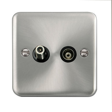 Curved Satin Chrome Isolated Satellite & Isolated Coaxial Outlet - Black Trim Trim- Black Trim