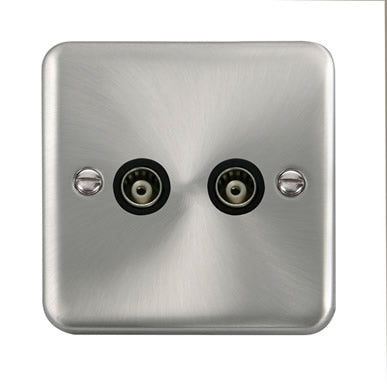 Curved Satin Chrome Twin Isolated Coaxial Outlet - Black Trim Trim- Black Trim