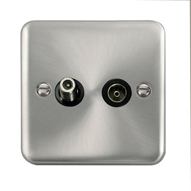 Curved Satin Chrome Non-Isolated Satellite & Non-Isolated Coaxial Outlet - Black Trim Trim- Black Trim
