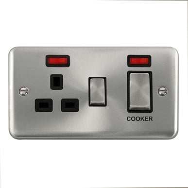 Curved Satin Chrome 45A Ingot 2 Gang DP Switch With 13A DP Switched Socket & Neons - Black Trim Trim- Black Trim
